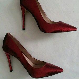 New Aldo Red Patent Leather Sequin Heels 9